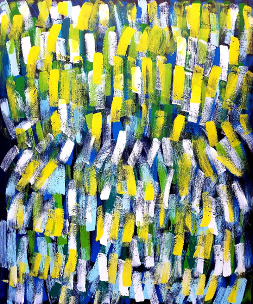 Blue and Yellow, acrylic on canvas 72×60 Rob Lewis